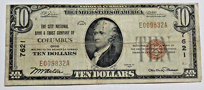 $10 1929 City National Bank  Columbus, Ohio  National Currency Ch. #7621 Vf