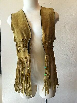 Montes american indian buck skin leather fringe  Vest 70s sz s womens
