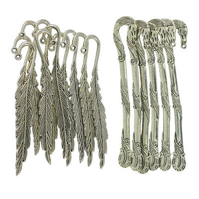 16pcs/Set Tibetan Silver Feather Horse Bookmark Label Stationery Book Marker