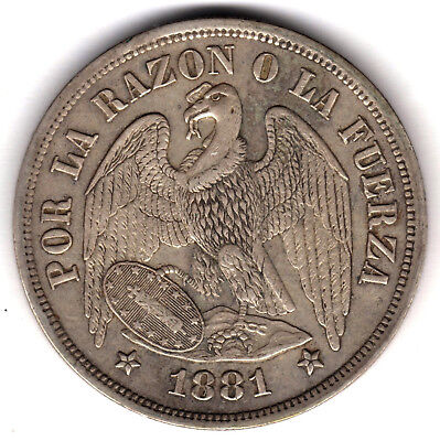 Chile 1 Peso 1881 Silver Crown Xf Condition