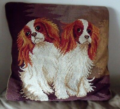 NEEDLEPOINT Pillow Dogs Spaniel Wool Hand made Estate Find!!