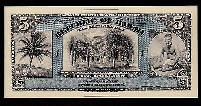 Proof Print or Intaglio Impression by ABNC $5 Hawaii Silver Certificate