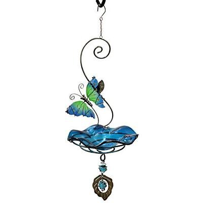 Heath Outdoor Products Butterfly Bliss, Blue Bird Feeder or Bath-Steel and Glass