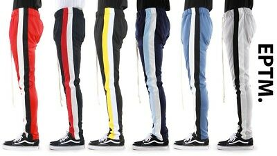 New EPTM. Mens Poly Zipper Slim Double Stripe Techno Double Track Pants Joggers