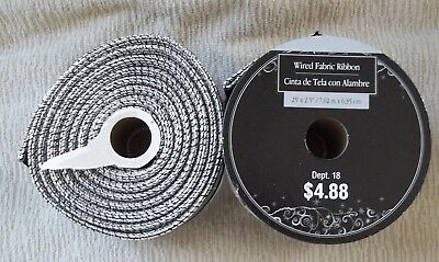 """Lot of 2 WIRED FABRIC Ribbon Acrylic/Polyester Velvet 25' x 2 1/2"""" ea. Black NEW"""