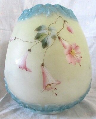 "Antique Blue Trim Pink Floral Hand Painted White Glass Oil Lamp Shade 4"" Fitter"