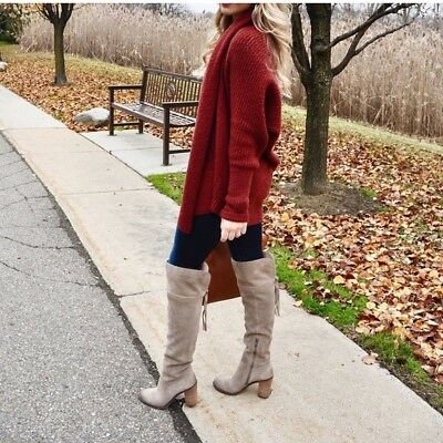 c275076d889 FRANCO SARTO ELLYN OVER THE KNEE BOOTS 7.5 Taupe Genuine Leather Suede OTK  Shoes