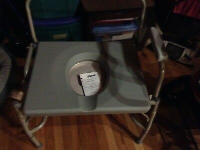 Adult Commode Bedside Toilet Seat Easy Open and Folding Steel Bariatric Drop New