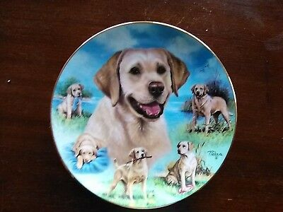3 Yellow Labrador Retriever Plates Lab Wendell August Forge Bradford Franklin