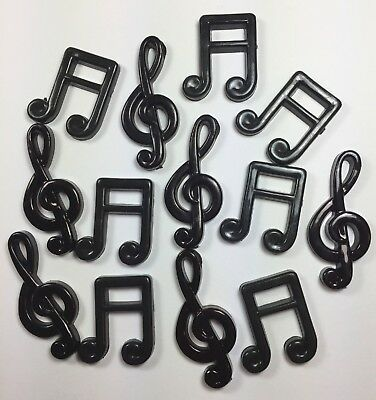 MUSIC NOTES Lot of 13 Plastic Resin Pieces Craft Black Flat Back Treble Clef