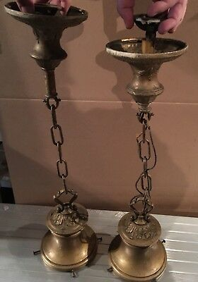 Two Antique Victorian Gold Hanging Ceiling Pendent Light - Pair Of Lights