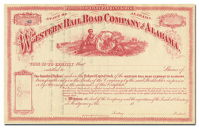 Western Rail Road Company of Alabama Stock Certificate