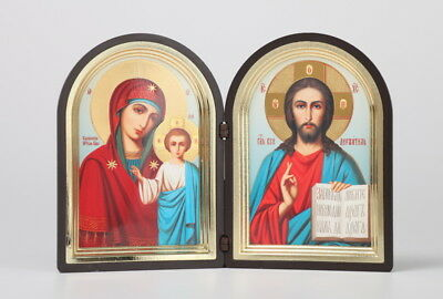 Russian Diptych Icon, Christ Pantocrator and the Madonna with Jesus - with Case