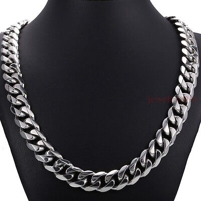 "Top 316L Stainless Steel Heavy Link Silver Curb Cuban Chain Men Necklace 8""-40"""