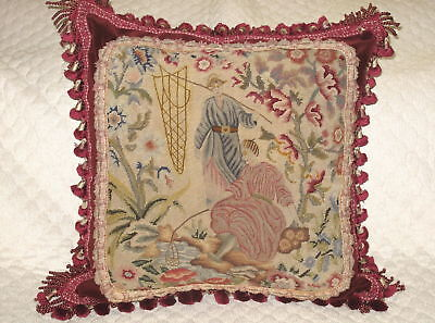 Rare 19Th Century Woolwork Needlepoint Tapestry Pillow ~ Couple Fishing