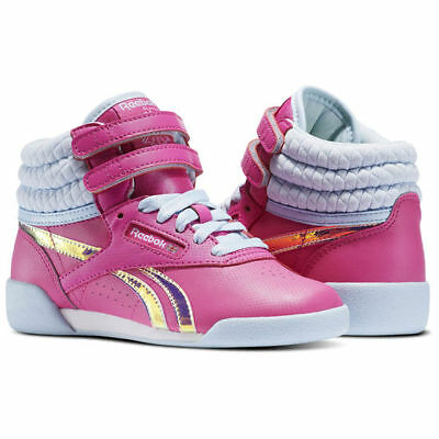 REEBOK BS5186 FREESTYLE HI Yth's (M) Winter Charged Pink Leather Hi-Top Shoes