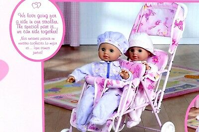Twin Doll Stroller Pink Tandem Stroller With Pink Butterfly Pattern