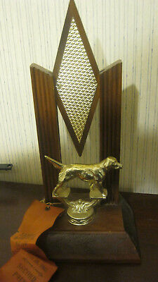 Vtg 1963 Ft Worth TX Pointer & Setter Club Bird Dog Show 2nd Place Trophy Ribbon