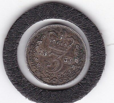 Sharp  1834   King William IV  Three  Pence  (3d)  Coin  (92.5% Silver)