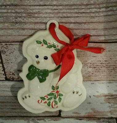 LENOX Holiday Teddy Bear Cookie Press Christmas Porcelain Ornament Collectible