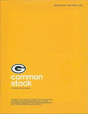 Green Bay Packers Common Stock Offering Document+Envelope/2011
