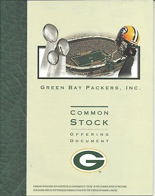 Green Bay Packers Common Stock Offering Document/1998