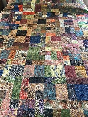 "Wow Handmade Rich Colors Batik Fabrics Patchwork Quilt Huge 113"" X 11"" King Sz"