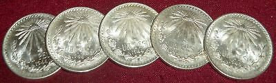 5 Beautiful 1944 Mexico Un Peso Foreign Coin, Choice Unc. Example, Great Luster
