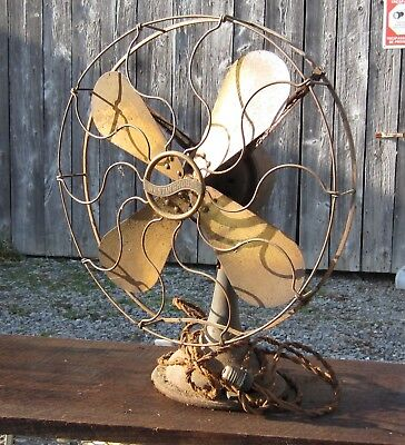 """Antique 16"""" WESTINGHOUSE 1912-1915 BRASS FAN/CAGE OSCILLATING 3-SPEED RUNS GREAT"""