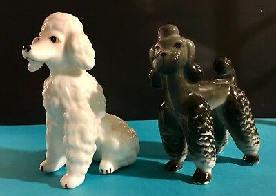 2 - Ceramic White and Black Poodle Figurines 3""