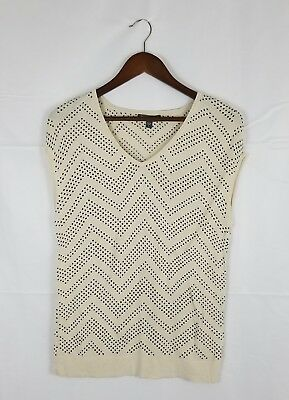 A Pea in the Pod Maternity Sleeveless Blouse Size Large Cream/Ivory Silk Blend