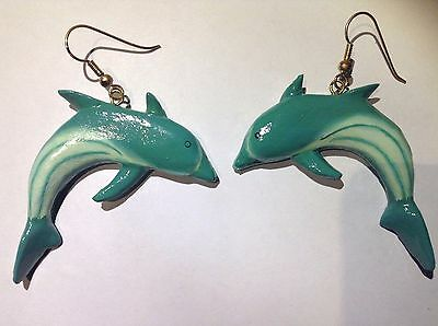Dolphin Animal Earrings Blue Fashion Long Drop Dangle Vintage Estate Large Big