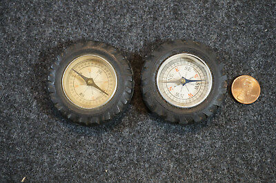 "Lot of 2 Vintage Rubber Tire Compass Paper Weight Advertising 2 1/8"" Diameter"