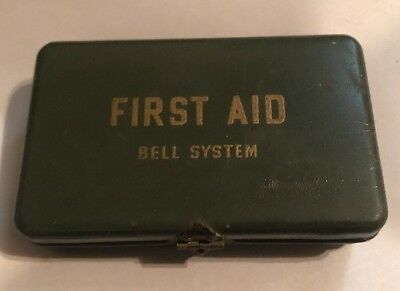 Vintage WWII Era Bell System First Aid Kit Metal Box - Made In USA