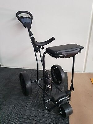 Pilgrim Black Fold up push/pull compact deluxe golf buggy/cart with 3rd wheel