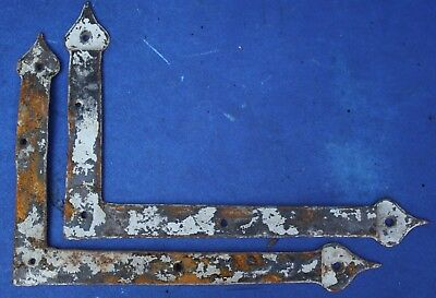 PAIR of 18th CENTURY ANTIQUE WROUGHT IRON BRACKETS early oak medieval Gothic