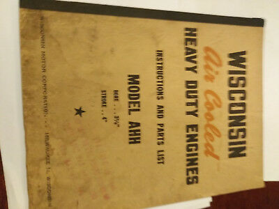 Vintage Original Wisconsin Air Cooled Engine Instruction Parts Book Manual AHH