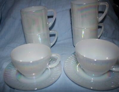 vintage Fire King pearl lustre 4 mugs 2 cups saucers tea set vgvc