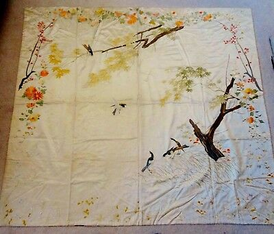 Antique Chinese Silk Embroidered Bed Cover or Wedding Sheet