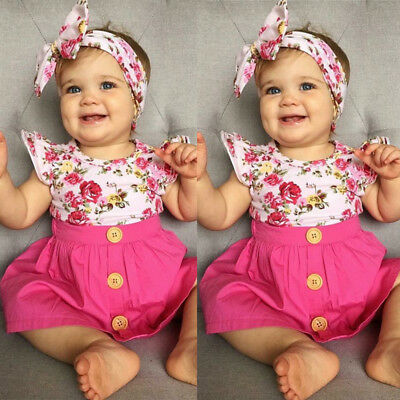 AU Newborn Kids Baby Girls Cotton Floral Top T-shirt Skirt Outfit Clothes Summer