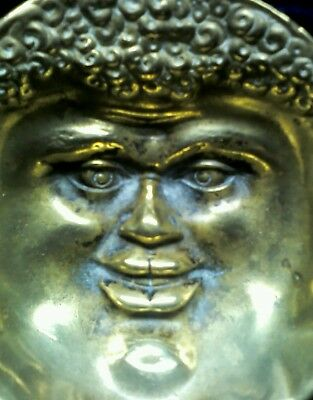 Grotesque antique repousse bronze/brass bowl, Mask of Silenus, aft the Roman