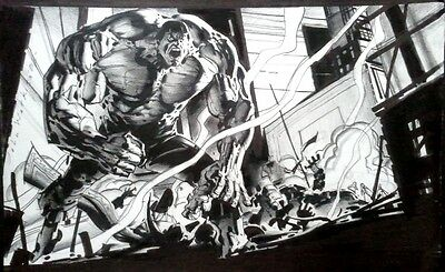 World War Hulk art by John Watkiss! Stunning piece! Iron Man, Dr Strange, Thing!