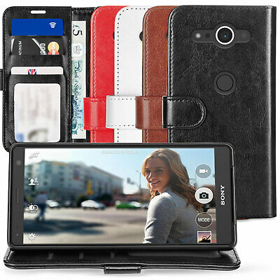 Sony Xperia XZ2 / XZ2 Compact Case PU Leather Cash Card ID Flip Wallet Cover UK