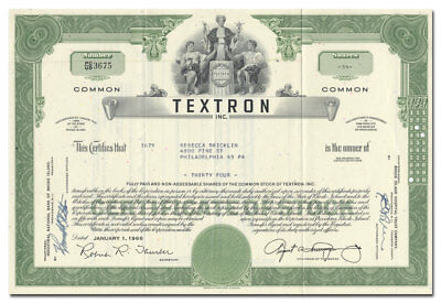 Textron, Inc. Stock Certificate (Bell Helicopter, Cessna, E-Z Go Golf Cars)
