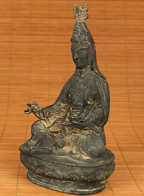 Art Chinese Old Bronze Collection Handmade Carved Tibet Buddha Statue Figure