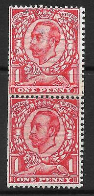 Sg 341 N11 1d Scarlet Downey Head Coil Join MOUNTED MINT to top stamp