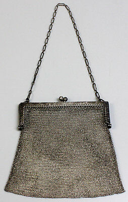 "Antique Sterling Silver Mesh Chain Mail Ornate Chased Frame 5"" Purse-LS Mark"