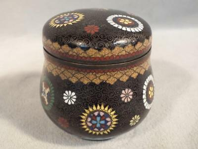 Antique Meiji Period Japanese Cloisonne Small Covered Jar