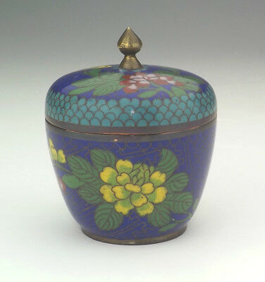 Vintage Chinese Cloisonne - Oriental Flower Decorated Lidded Pot - Lovely!