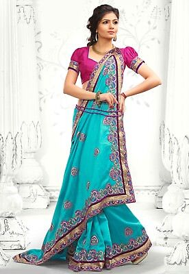 New Embroidery Bhagalpuri Silk Saree with Stitched Blouse - Cyan Blue/Fuchsia